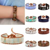 Natural Stone Tube Beads Bracelet Handmade Leather Wrap Bangle Women Men Jewelry
