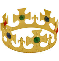 Royal Gold Crown Adults Fancy Dress Mens Ladies King & Queen Costume Accessory