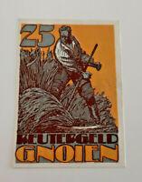 GNOIEN REUTERGELD NOTGELD 25 PFENNIG 1922 NOTGELDSCHEIN (10762)
