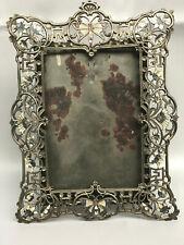 "Antique Austrian Victorian Pewter Photo Frame Enamel Butterflies and Flowers 9"""
