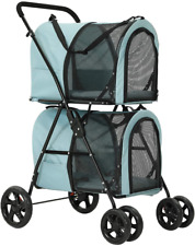 Used 4 Wheels Folding Dog Strollers 2 Pet Stroller for 2 Dogs & Cats Travel Cat