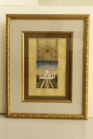 Mughal Miniature Old Painting With Frame Finest Gold & Gouache Artwork On Paper