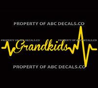 Heart Beat Line WORD GRANDKIDS Grandma Granny Grandpa CAR DECAL VINYL STICKER