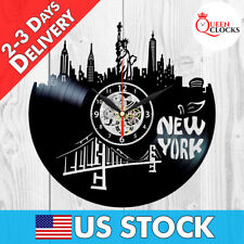 New York Wall Clock Skyline City Buildings Vinyl Record Best Gift Art Home Decor