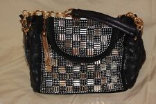 NEW HANDBAG EXPRESS BLACK+CRYSTAL STUDS,RHINESTONES BASKET WEAVE SATCHEL,BAG