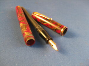 Watermans Ideal Fountain Pen Number 92 Red And Gold Color