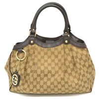 Authentic Gucci GG Canvas Tote Satchel Hand Bag Shoulder Beige Brown Gold Italy