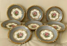 Aynsley 7913 Gray Rim Gold Trim & Pink Rose 8 Saucers by G. Bentley