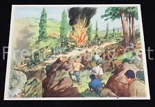 Ancienne affiche Le maquis WWII guerre explosion attaque Reconstruction France