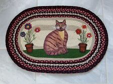 NEW Folk Art Primitive Style Cat Jute Fiber Braided Oval Rug Mat