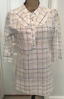 Shade 3/4 Sleeved 100% Cotton Plaid Tunic - Size XL