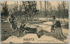 HUNTING RABBIT EXAGGERATED ANTIQUE POSTCARD
