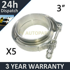 """5X V-BAND CLAMP + FLANGES ALL STAINLESS STEEL EXHAUST TURBO HOSE 3"""" 76mm"""