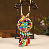 Fashion Women Handmade Weave Turquoise Pendant Necklace Wedding Women Gift