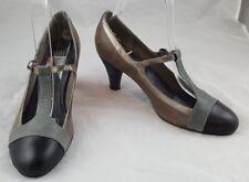 """Señoras Fe T-Strap Beige/Gris Zapatos De Bronce Con Talón 3""""/Reino Unido 6 EUR 38.5"""
