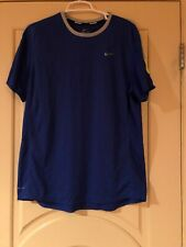Mens Nike short Sleeve Blue and Gray Dri Fit Athletic Top. Size L
