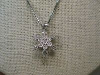 """Sterling Silver Diamond Snowflake Necklace, 18"""", 4.50 grams, 25 diamonds"""