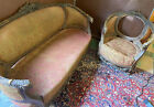 Ornate French Antique 19C Italian Rococo Carved Sofa & Chair W Ram Heads & Doves