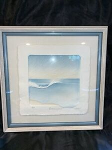 Vintage Signed Wess Hand Cast Paper Art Ocean Swells ltd edition Signed #AP b757