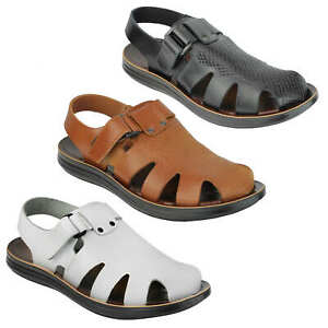 Mens Real Leather Strap Sandals Roman Gladiator Style Beach Holiday Walking Mule