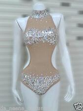 DaNeeNa M561 Cute Crystal Cher Vegas Burlesque Bugle Leotard Bodysuit XS-XL