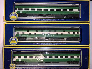 AHM HO Scale Burlington Northern Passenger Cars 3 Set