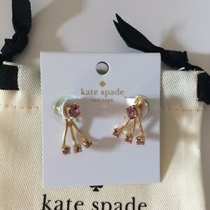 NWT KATE SPADE Earrings Rose Stone Gold Tone  LILACPETAL O0RU1801 $48
