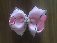 "4 BLESSING Girl 4.5"" Shine Hair Bow Clip Rhinestone Rainbow Pearl Flower A"