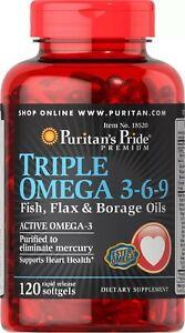 Puritan's Pride Triple Omega 3-6-9 Fish Flax & Borage Oils 120 Softgels