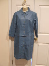 NWT NEWPORT NEWS  2 in 1 Leather Long convertable Jacket Coat Blue SIZE 12