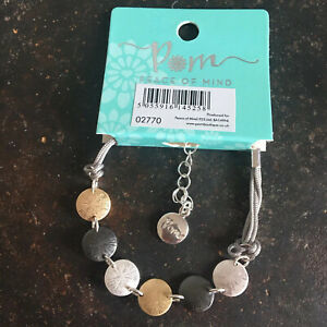 Textured Mixed Disc Bracelet On Grey Cord POM Boutique