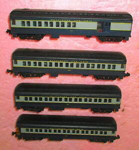 4 Vintage N-Scale BALTIMORE & OHIO Heavyweight ILLUMINATED Passenger Train Cars
