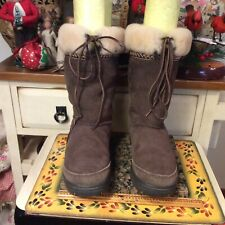 UGGS S/N 5273 ULTIMATE Cuff Tie Winter Boots Brown Suede/Sheepskin Women Size 10