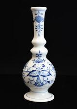 Meissen Blue Onion Bud Vase, blue on white, rare form. Crossed swords mark.