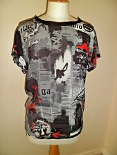 GALLIANO by John Galliano 100% Silk Newspaper Print Top UK 6 I 38 NEW