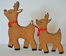 Pair of Vintage Reindeer Mommy Baby Wood Carved Painted Christmas Standing Htf