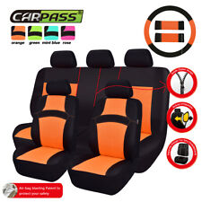 Universal Car Seat Covers Mesh Breathable Orange Steering Wheel Seat Belt Cover