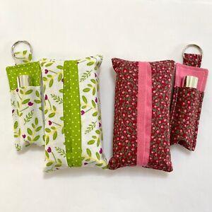 Pocket Tissue Cover Pouch & Lipstick Keyring Holder Set | Handmade | Floral