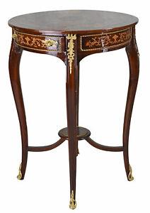Beistelltisch Rokoko Tisch rund Intarsien Konsolentisch Antik Barocktisch Holz