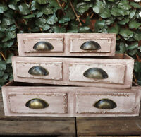 Shabby Chic Rustic Vintage Wooden Cup Handle Drawer Display Storage Box Crates