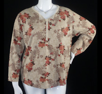 Fashion Bug brown floral long sleeves women's plus size stretch top 2X 22/24W