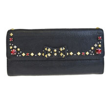 Auth MIU MIU Long Bifold Wallet Purse Rhinestone Studded Black Leather 08EG263