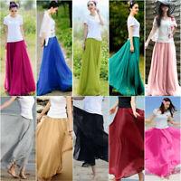 Women Chiffon High Waist Elastic Waist Skirt Double Layer Maxi Beach Dresses US