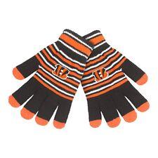 Cincinnati Bengals Gloves Acrylic Stripe Knit Sports Logo Winter Texting Tips