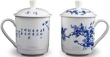 2 Bone China 14-ounce Tea Cups Coffee Mugs (With Lid) Plum Blossom Blue and W.