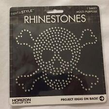 Brand New ~~ Iron-On Rhinestones Skull & Crossbones ~~ Two (2) Sheets ~~ NEW