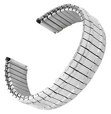 18mm Hirsch Stainless Twist-O-Flex Silver Tone Thick Lines Watch Band 889 BOGO!