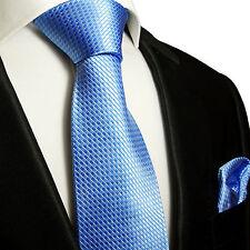 XL Krawatten Set 2tlg blau extra lange 165cm Seidenkrawatte + Tuch 502