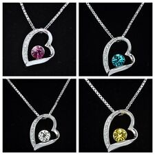 18K White Gold Plated Heart Pendant Necklace with CZ Crystal - Gift Boxed