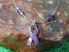 FIBROMYALGIA Lupus Lg Purple Ribbon Awareness ANKLET with Swarovski Elements